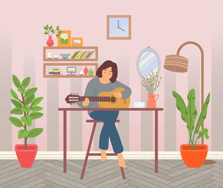 Woman spending time at home vector, guitarist with acoustic instrument. Houseplant growing in pot, room interior with plants and shelves and books