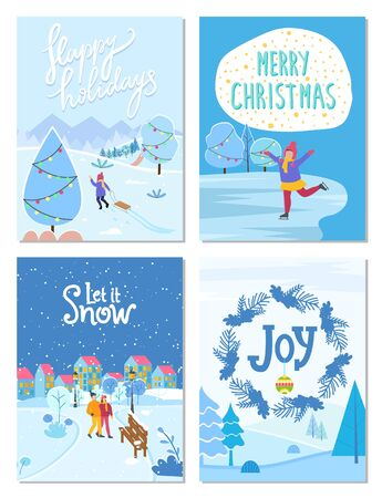 Collection of greeting cards for winter holidays congratulation. People celebrating xmas in city. Kid with sleds pulling sleigh. Figure skating child on ice rink. Wreath with pine and mistletoe vector