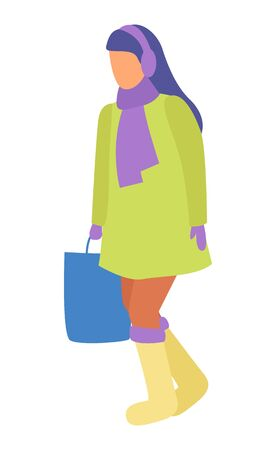Woman with handbag walking on pathway alone. Brunette strolling in winter or autumn, cold weather. Isolated person in warm clothes like scarfs and overcoat, muffler and boots. Vector illustration