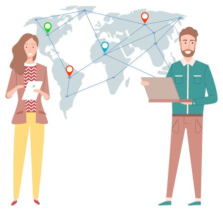People working with business partners from all over world vector, man and woman with laptop and document contracts. Map with location pointers flat style