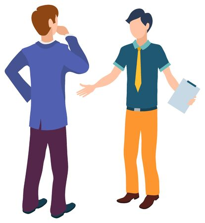 Man talking to assistant vector, boss and helper solving problems at work flat style characters working together. Leader with novice holding document