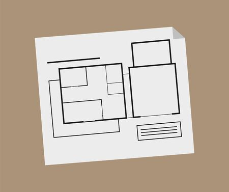 Schematic representation of new building project vector, page with hand drawn schematic construction, windows and entrance, rooms and floors isolated