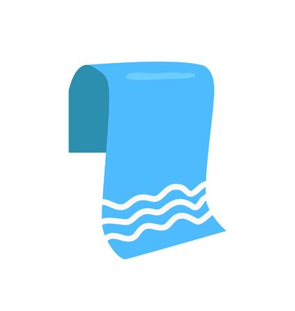 Towel for beach emblem isolated vector icon in cartoon style. Folded terry cloth, tissue for wipe single simple element, front view primitive badge Foto de archivo - 135370381