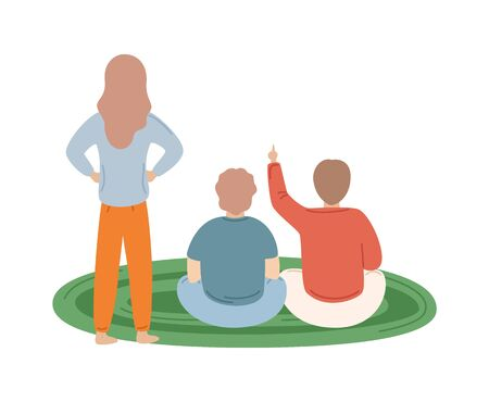 Standing mother in front of sitting two children vector illustration. Two boys on green round carpet at home flat style isolated cartoon people back view Illusztráció