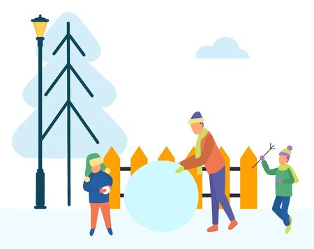 Family winter activities outdoors. Dad and sons sculpting snowman. Construction made of snow. City park with pine tree, fence and lantern. Father and children on vacation playing together vector