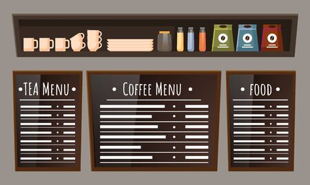 Menu board with positions of food and beverages. Coffee and tea items on chalkboard. Cups, plates and bottles on wooden shelf. Coffeehouse homelike interior, furniture for cafe. Vector illustration