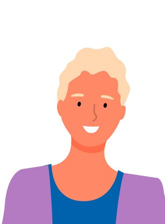 Blonde woman with broad perfect white smile isolated business worker. Vector portrait view of online consultant, best entrepreneur or manager on job Ilustração