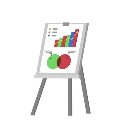 Whiteboard vector, isolated board on stand with information, organized info in charts and schemes, timeline and explanation to business research data
