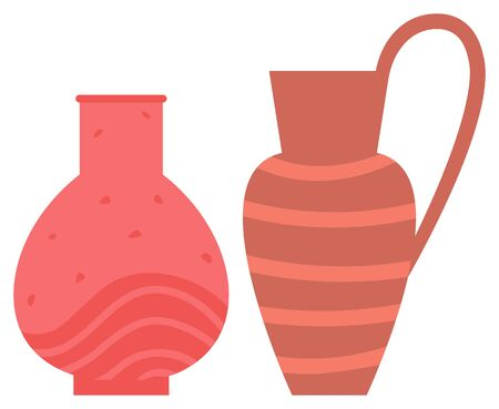 Pot made of clay vector, handmade decoration with ornament stripes. Ceramics pottery, vase for flowers and amphora with handle flat style objects set Illustration
