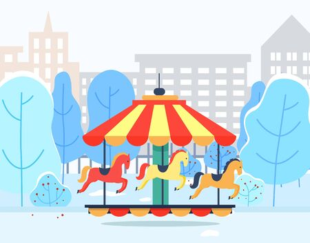 Merry-go-round in urban winter park with cityscape view. Colorful carousel with horses objects near snowy trees and high buildings. Entertainment element outdoor near wood and construction vector Illustration