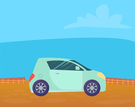 Small turquoise colored microcar vehicle stand on ground in countryside. Automobile to drive and get your destination quickly. Blue nature background with and clouds. Vector cartoon illustration in flat style