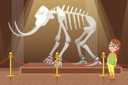 Boy in natural history museum. Exhibition with skeleton of mammoth with big white tusks and bones. Kid in glasses amazed by prehistoric animal. Child alone in hall. Flat cartoon vector illustration