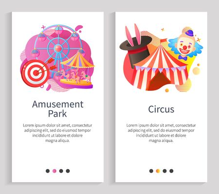 Circus and amusement park vector, ferris wheel attraction for kids, clown and bunny ears in hat, tricks and fun time relaxation, dartboard aim. Website or slider app, landing page flat style