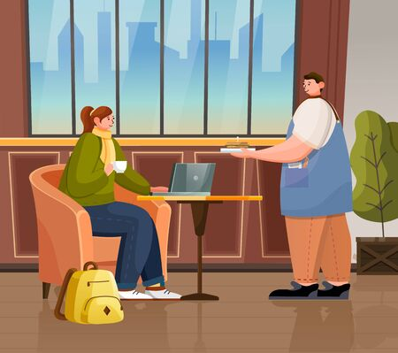Coffeeshop interior, female character working on laptop while drinking coffee. Waiter with order for woman. Freelancer or student sitting inside of coffeehouse with cityscape view from window vector  イラスト・ベクター素材