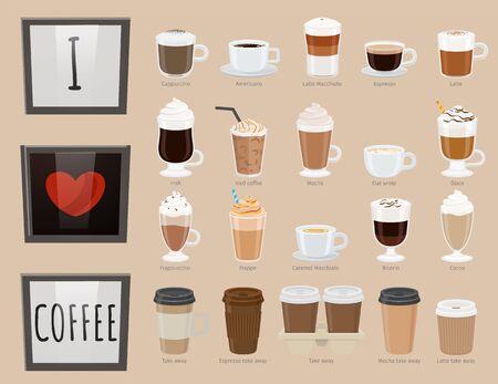 Collection de verres avec boissons. Types de café, variété de boissons. Americano et latte macchiato, café glacé et type irlandais. bicérine et cacao à emporter. Vecteur à plat