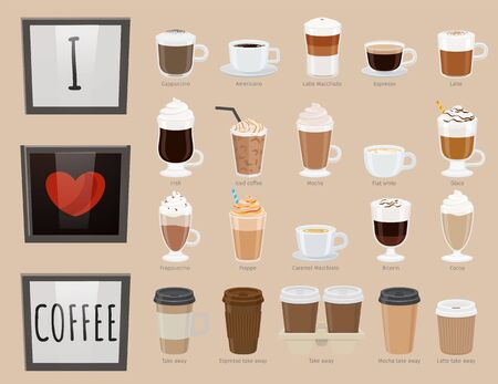 Collection of glasses with drinks. Coffee types, variety of beverages. Americano and latte macchiato, iced coffee and irish type.  bicerin and cocoa takeaway. Vector in flat