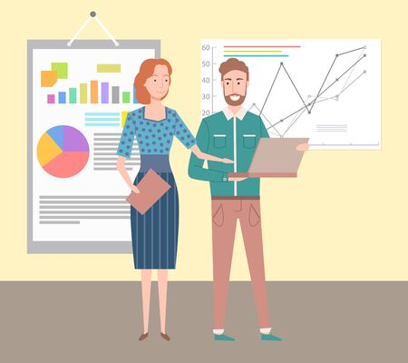 Schemes and charts vector, people showing presentation to business partners, colleagues with common aim and goal, male with laptop developing project