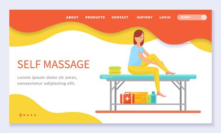 Self massage care and professional treatment of woman leg in therapy spa salon. Female sitting on table massaging skin with lotion and oil. Website or webpage template, landing page flat style vector Standard-Bild - 135815176