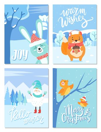 Set of greeting cards with calligraphic inscription for christmas and new year celebration. Animals in forest with snow. Bullfinch birds and snowman wearing clothes. Fox with acorn, and bunny vector
