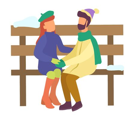 Man and woman sitting on wooden bench. Winter characters in love on date. People talking in park, girlfriend and boyfriend in relationship. Couple hugging holding hands. Vector in flat style