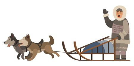 Man wearing thick and warm clothes riding sleigh with husky dogs. Sled dog running and transporting owner. Isolated eskimo friendly waving his hand. Male with animals outdoors, vector in flat style
