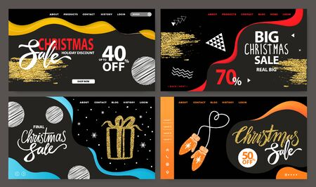 Collection of promotional banners for christmas sale announcement. 40 and 70 percent reduction of price. Presents and abstract decor. Website or webpage template, landing page, vector in flat style