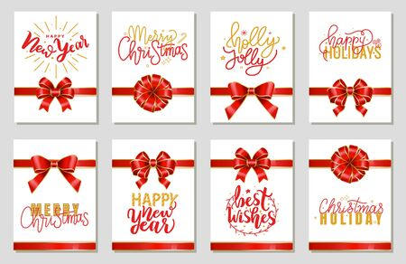 Set of gift cards with ribbon bows and calligraphic inscriptions. New year and merry christmas congratulations on postcards with ornaments and wreath. Celebration of winter holidays. Vector in flat