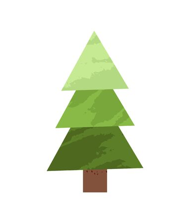 Green spruce tree made of simple triangles in flat design cartoon style. Vector fir-tree or New Year decorative element, green summer pine plant 일러스트