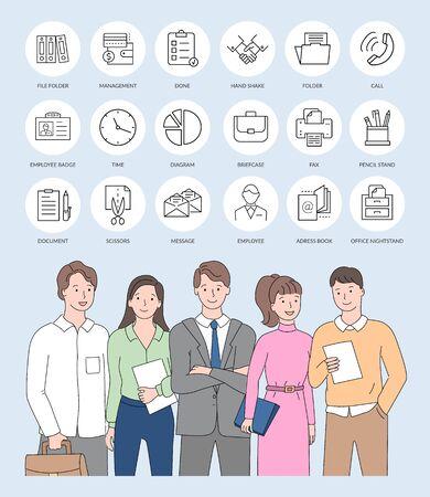 Grupo de compañeros de empresa de negocios de pie vector, personas en ropa formal, objetos aislados de diseño web, iconos de arte de línea de oficina y marketing Ilustración de vector