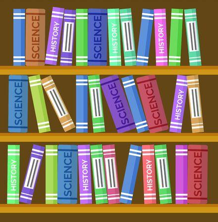 Libreria con libri come sfondo vettoriale, sfondo a tema educativo. Sala della biblioteca dei cartoni animati, biblioteca universitaria o scolastica online. Volumi di libri di testo sugli scaffali, illustrazione di archiviazione di grandi conoscenze
