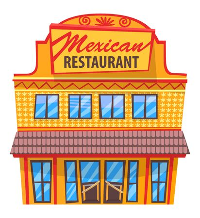 Mexican restaurant isolated icon of building made in traditional architectural style. Construction with signboard and windows. Light design of cafe with cuisine of one country vector in flat