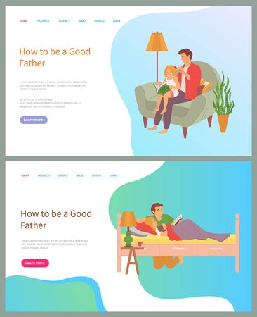 How to be good father vector, daddy brushing hair of daughter, man reading book to kid laying in bed, bedtime stories, tales from book set. Website or slider app, landing page flat style Vectores