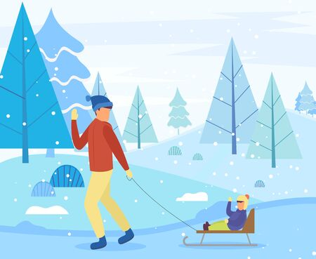 Parent and child spend time actively in winter forest. Father rides little boy on sleigh during snowfall. Fir or spruce trees covered by snow. Vector illustration of wintertime activity in flat style Illusztráció