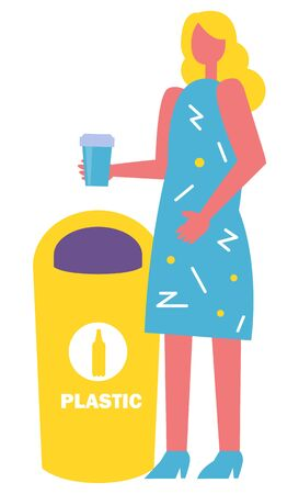 Sorting garbage vector, female character with plastic cup throwing waste into appropriate bin. Lady with bottle drink beverage in hands, flat style