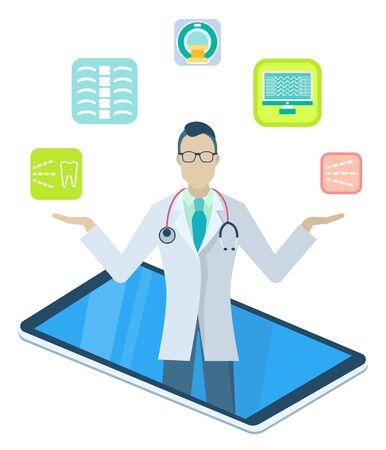 Doctor examine patients remotely. Physician consults people about diseases and medication through mobile app. Medical application on your smartphone. Vector illustration of online medicine in flat 向量圖像
