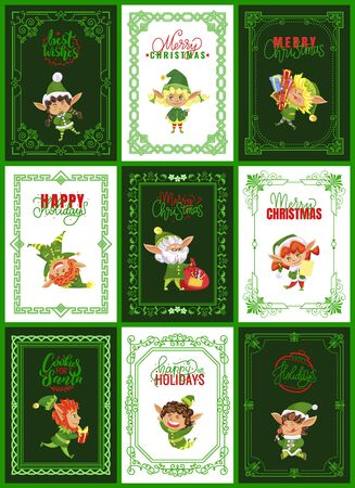 Collection of greeting cards for christmas and new year holidays. Elves characters on postcards with calligraphy lettering. Winter holidays congrats and celebration. Dwarfs set vector in flat