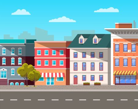 City street vector, empty town with old houses and buildings with fancy rooftops. Urban area residential constructions, skyscrapers and tree decor. Cityscape with houses facades. Flat cartoon