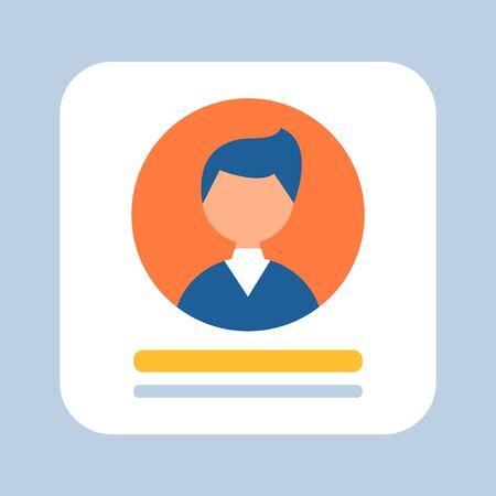 Persona de negocios representada en el vector icono, hombre de negocios con traje formal, avatar de hombre que trabaja en varios campos, estilo plano de banner cuadrado de formalidades
