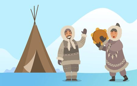 Arctic people in traditional warm clothes singing with tambourine instrument. Man and woman hunters characters with timbrel near tent. Happy male and female standing on snowy landscape vector Vetores