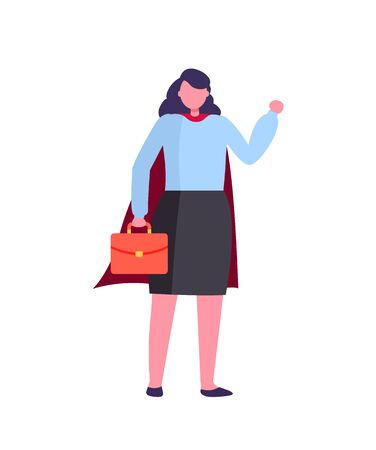 Lady holding briefcase with documents vector, female working for company hero lady in business corporation isolated person in flat style, formalwear