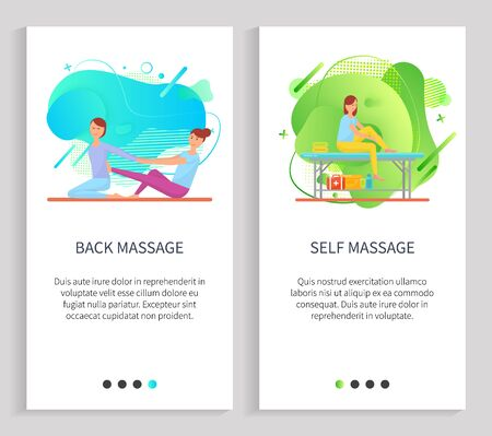 Back and self massage, women characters massaging, females sitting on floor or table, doing acupressure or stretching therapy, masseuse vector. Website or slider app, landing page flat style
