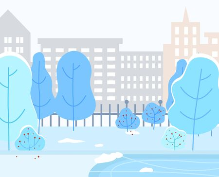 Winter cityscape of city, park of town. Buildings and skyscrapers, residential constructions. Wintertime landscape with trees covered with snow. Bushes and ice skating rink. Urban area vector