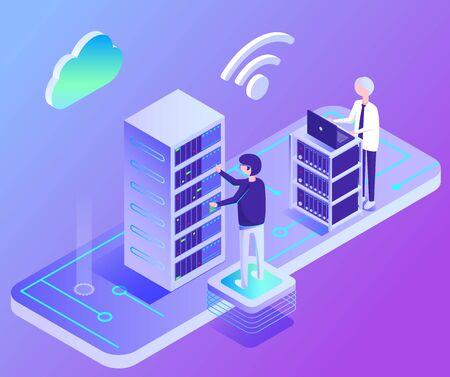 Les gens communiquent avec l'ordinateur, le support PC, le cloud et l'icône wifi sur violet, personnage de travailleur au bureau. Technologie moderne isométrique du centre de données, connexion numérique, vecteur de l'industrie de la sécurité Vecteurs