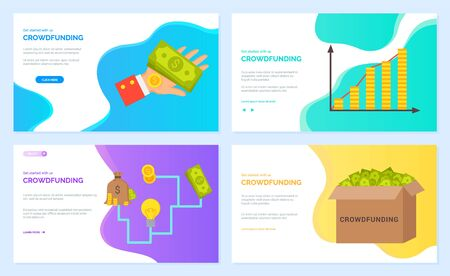 Crowdfunding vector, infocharts with information about business, box with banknotes and hand holding cash American dollars. Coin and bag. Website or webpage template, landing page flat style Ilustração