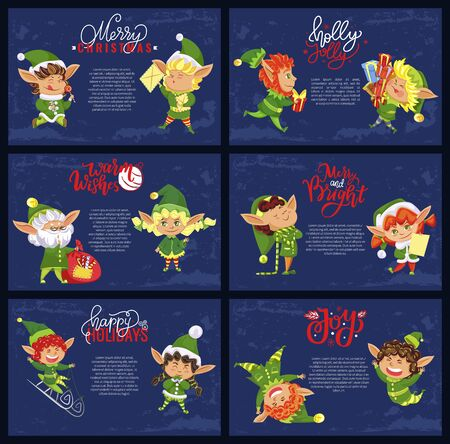 Christmas holiday banners, elves or Santa helpers with Xmas gifts vector. Magic dwarfs with presents, sledging on sleighs, lollipops and letters, wish list. Winter celebrations vector illustrations