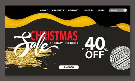 Christmas sale and discount 40 percent reduction off price. Calligraphic inscription for winter holidays proposal for shoppers. Website or webpage template, landing page, vector in flat style