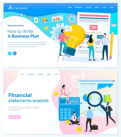 Creating business plan vector, financial statement analysis people working in team. Teamwork to achieve success, goals and targets of company. Website or webpage template, landing page flat style
