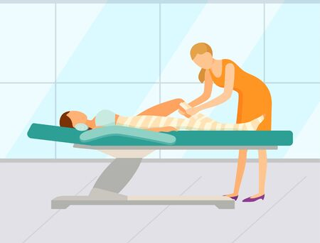 Worker of spa salon wrapping leg of female client, beauty procedure. Woman character lying on table and relaxing, body envelope, healthcare vector