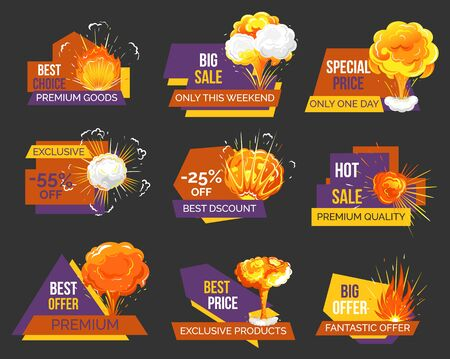 Hot price, reduction of cost promotional banner with explosion. Discount with star symbolizing rate. Discount in store on black friday. Sale proposal from shops and stores for shoppers, vector in flat