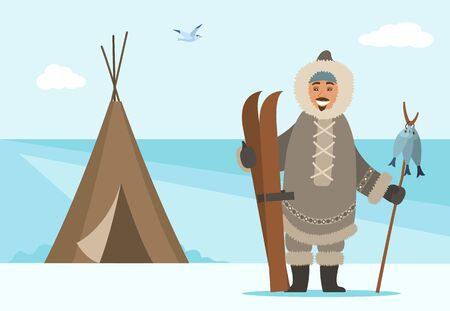 Arctic person outdoors standing by shelter holding ski equipment and wooden stick with hunted fish. Man living in northern parts. Bird flying at sky. Cold weather, freezing climate vector in flat